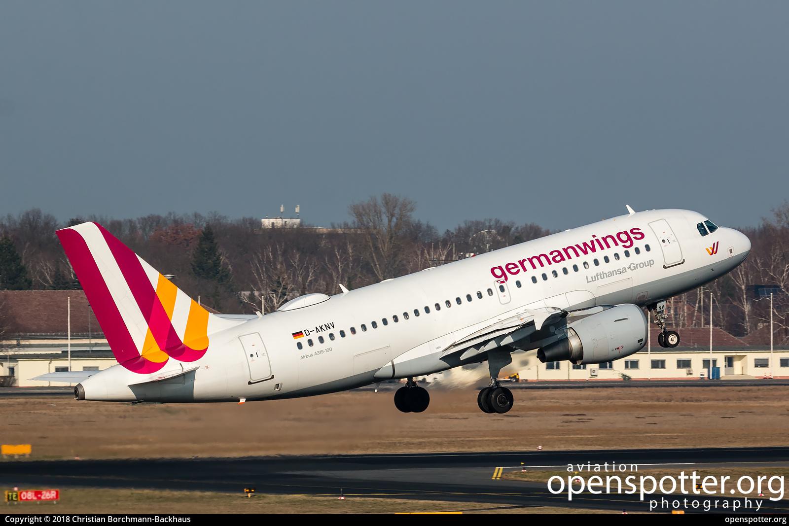 D-AKNV - Germanwings Airbus A319-112 at Berlin-Tegel Airport (TXL/EDDT) taken by Christian Borchmann-Backhaus | openspotter.org | ID: 51520