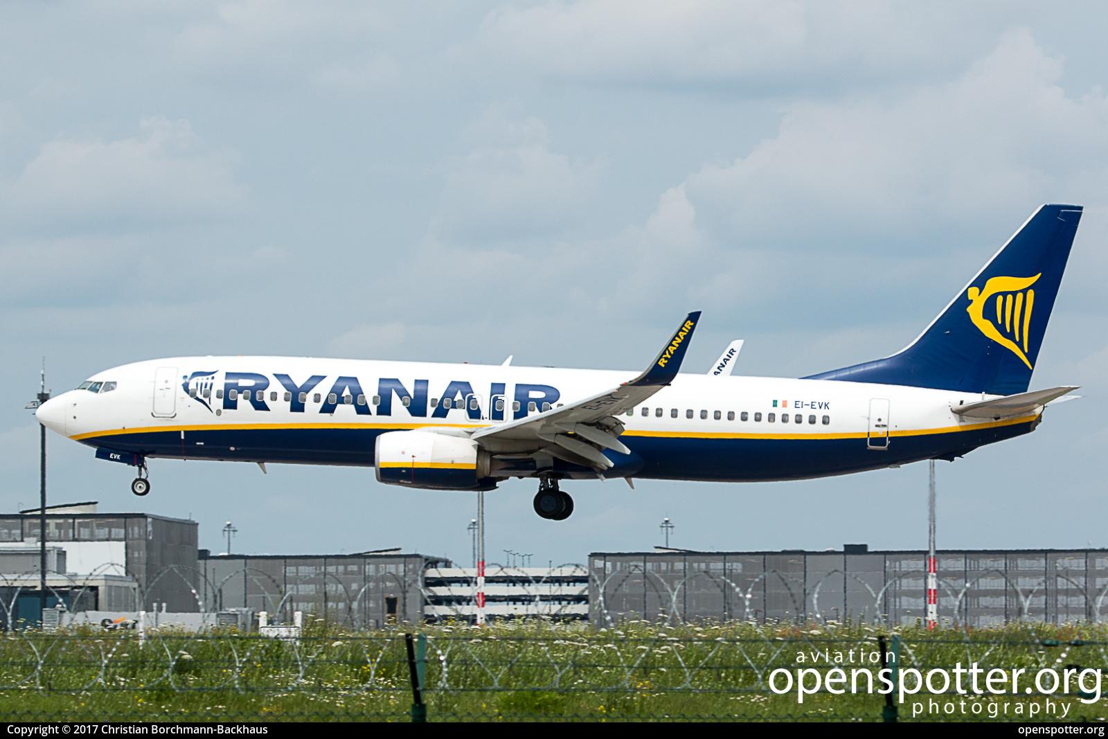 EI-EVK - Ryanair Boeing 737-8AS(WL) at Berlin-Schönefeld International Airport (SXF/EDDB) taken by Christian Borchmann-Backhaus | openspotter.org | ID: 44521