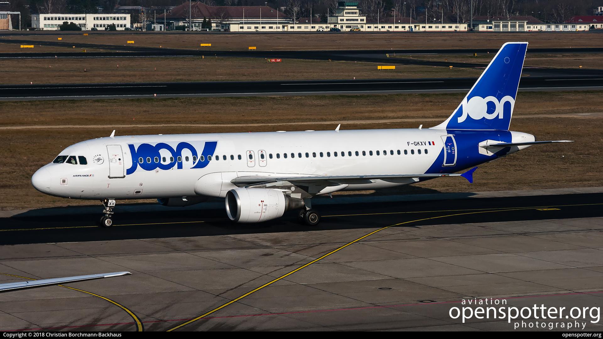 F-GKXV - Joon Airbus A320-214 at Berlin-Tegel Airport (TXL/EDDT) taken by Christian Borchmann-Backhaus | openspotter.org | ID: 51517