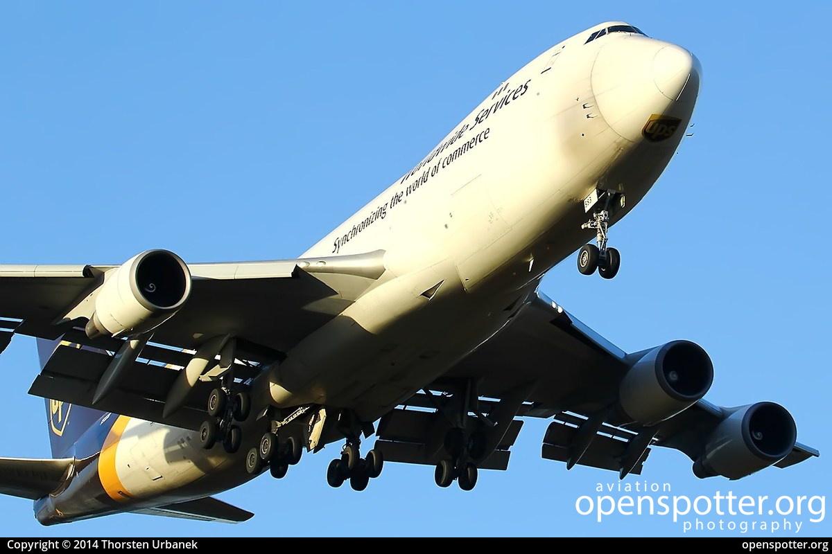 N583UP - United Parcel Service Boeing 747-4R7F at Cologne Bonn Airport (Köln/Bonn - Konrad Adenauer) (CGN/EDDK) taken by Thorsten Urbanek | openspotter.org | ID: 12529